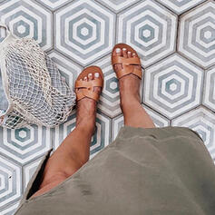 De mujer PU Tacón plano Sandalias Pantuflas con Color sólido zapatos