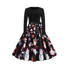 Print Long Sleeves A-line Knee Length Vintage/Christmas/Casual/Party/Elegant Skater Dresses