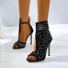 Dla kobiet Zamsz PU Obcas Stiletto Otwarty Nosek Buta Z Klamra obuwie