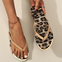 De mujer PVC Tacón plano Sandalias Planos Encaje Chancletas Pantuflas Encaje con Estampado de animales zapatos