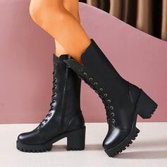 Dámské PU Široký podpatek Boty S Zip Šněrovací Solid Color obuv