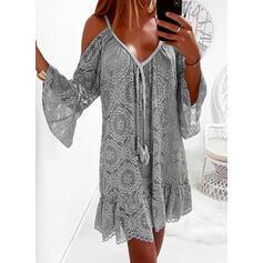 印刷 長袖/フレアスリーブ シフトドレス 膝上 カジュアル/休暇 チュニック ドレス