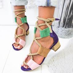 De mujer Cuero Tacón ancho Sandalias Salón Encaje con Cordones zapatos