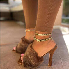 Women's Fabric Stiletto Heel Sandals Slippers With Solid Color shoes