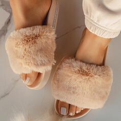 De mujer Cuero Tacón plano Sandalias Planos Solo correa Pantuflas con Piel zapatos