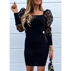 Solid/PolkaDot Long Sleeves Sheath Above Knee Little Black/Casual Dresses