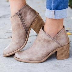 Vrouwen PU Chunky Heel Laarzen Enkel Laarzen Ronde neus met Rits Effen kleur schoenen