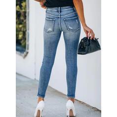 Shirred Plus Size Ripped Cropped Elegant Sexy Skinny Denim & Jeans