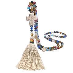 Colorato Croce Boho Pietra Naturale Cristallo Cotone stringa con Nappe Imitazione di cristallo Perline Collane