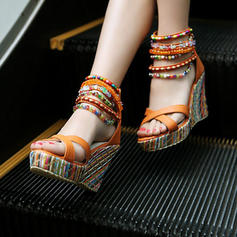 Women's PU Wedge Heel Sandals Platform Wedges Peep Toe With Zipper shoes