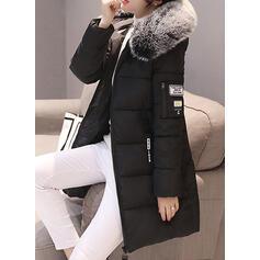 Cotton Blends Long Sleeves Plain Down Coats