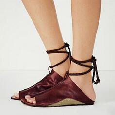 PU Sem salto Sandálias Sem salto com Aplicação de renda sapatos