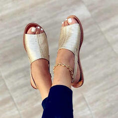De mujer Cuero Tacón plano Sandalias Encaje Solo correa con Hebilla Agujereado zapatos