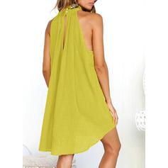 Sólido Sin mangas Tendencia Sobre la Rodilla Casual Vestidos