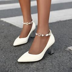 De mujer PU Tacón ancho Salón con Rhinestone Cuentas Hebilla zapatos