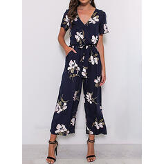 Floral Print V-Neck Short Sleeves Casual Jumpsuit