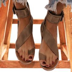 Kvinner Lær Flat Hæl Sandaler Titte Tå Slingbacks med Spenne sko