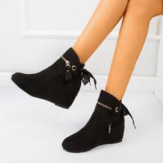 De mujer Ante Tipo de tacón Botas al tobillo Encaje con Bowknot Color sólido zapatos