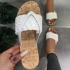 Women's PU Flat Heel Sandals Flip-Flops Slippers With Braided Strap Solid Color shoes