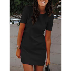 Solid Short Sleeves Bodycon Above Knee Little Black/Casual Dresses