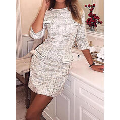 Print Long Sleeves Sheath Above Knee Casual Dresses