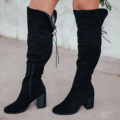 Women's Suede Chunky Heel Over The Knee Boots Riding Boots Round Toe With Zipper Lace-up Solid Color shoes