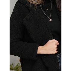 Faux Fur Long Sleeves Plain Faux Fur Coats
