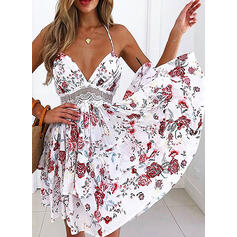 Lace/Print/Floral/Backless Sleeveless A-line Above Knee Sexy/Vacation Skater Dresses
