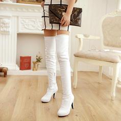 De mujer PU Tacón stilettos Salón Plataforma Botas Botas sobre la rodilla con Cremallera zapatos
