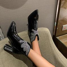 婦人向け 人形 チャンクヒール アンクルブーツ 靴