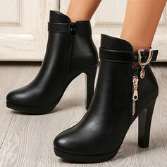 Women's PU Chunky Heel Boots With Buckle Zipper Solid Color shoes