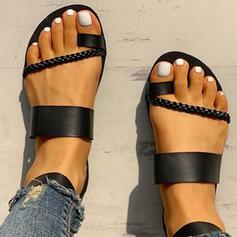 Donna PU Senza tacco Sandalo Ballerine Punta aperta Ciabatte Anello del dito del piede con Fibbia scarpe