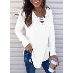 Solid Lace-up V-Neck Casual Sweaters