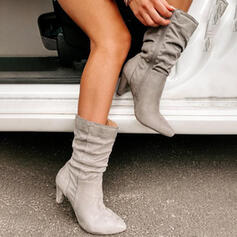 De mujer Ante Tacón en cono Botas con Cremallera Color sólido zapatos