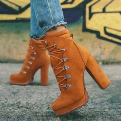 Dámské Semiš Široký podpatek Kotníkové Boty Martin boty Kolem špičky S Šněrovací Solid Color obuv