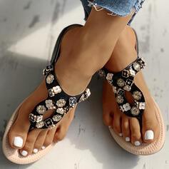 De mujer PU Tacón plano Chancletas Pantuflas con Flor zapatos