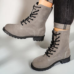 Dámské Koženka Široký podpatek Martin boty Kolem špičky S Solid Color obuv