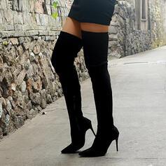 Vrouwen Doek Chunky Heel Over De Knie Laarzen Puntige teen met Rits Las kleur schoenen