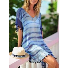 Stripe Mesh V-Neck Bohemian Cover-ups Swimsuits