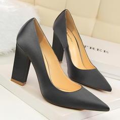 De mujer Satén Tacón ancho Salón Cerrados zapatos