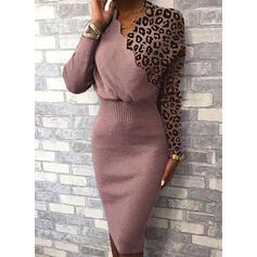 Blocchi di colore leopardo Scollatura a V Casual Lungo Stretto Abito maglione