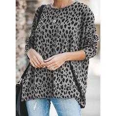 Leopardo Cuello redondo Manga Larga Casual Tejido De Punto Blusas