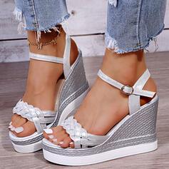 De mujer PU Tipo de tacón Sandalias Plataforma Cuñas Encaje Tacones con Hebilla Correa Trenzada Color sólido zapatos