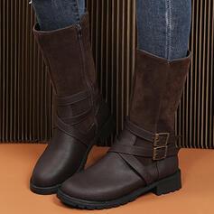 De mujer Ante PU Tacón ancho Botas longitud media con Hebilla Cremallera Otros zapatos