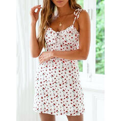 Print/Floral Sleeveless Bodycon Above Knee Sexy/Casual/Vacation Slip Dresses