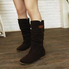 Женский замша Танкетка Полусапожки Зимние ботинки с Ruched Сплошной цвет обувь