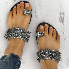 De mujer PU Tacón plano Sandalias Encaje Pantuflas con Rhinestone zapatos