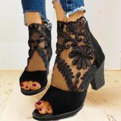 Vrouwen Suede Mesh Chunky Heel Sandalen Pumps Enkel Laarzen Hakken met Rits schoenen