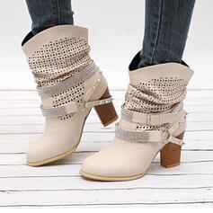 Naisten PU Chunky heel Mid-calf saappaat Terävä varpa jossa Tekojalokivi Niitti Solki kengät