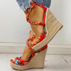 De mujer Satén Tipo de tacón Sandalias Cuñas Encaje Tacones con Arco del satén zapatos